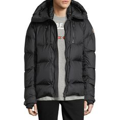 Moncler Grenoble Collection Valloire Down Jacket (€1.640) ❤ liked on Polyvore featuring men's fashion, men's clothing, men's outerwear, men's jackets, black, mens hooded jackets, mens quilted jacket, mens quilted down jacket, mens hooded down jacket and mens insulated jackets