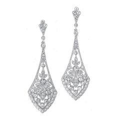 Vintage Silver Long Drop Earrings
