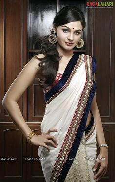 Off-white Saree with red/blue border