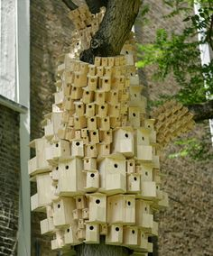 Pixelated Birdhouses Sprout On City Trees In London