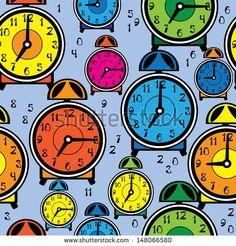 seamless pattern multicolor alarm clock