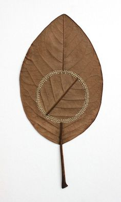 Delicate leaves and other natural objects decorated with fine crocheting are Susanna Bauer's specialty. Art Au Crochet, Diy Fleur, Embroidery Leaf, Crochet Leaves, Nature Crafts, Art Nature, Leaf Art, Sculpture, Art Plastique
