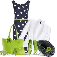A fashion look from January 2014 featuring navy blue sleeveless dress, white cotton blazer and green leather tote bag. Browse and shop related looks. Diva Fashion, Fashion Looks, Fashion Outfits, Womens Fashion, Classy Fashion, Fashion Styles, Blazer Jeans, Blue Nile, Curvy Women Outfits