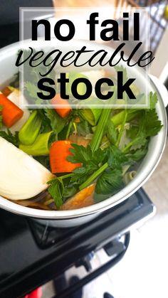 No Fail Vegetable Stock - Going Zero Waste Whole Food Recipes, Soup Recipes, Healthy Recipes, Healthy Soup, Crockpot Recipes, Veggie Stock, Homemade Vegetable Stock Recipe, Clean Eating, Healthy Eating