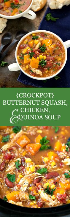 The EASIEST + super healthy crockpot butternut squash, chicken, and quinoa soup