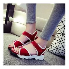 Fashion NEW Sport Sandals Splice Thick Sole Ankle Strap Velcro Shoes Red UK5