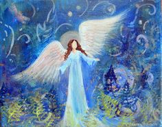 Original Acrylic Painting Healing Energy Angel 8 x 10 wrap around canvas with Gold Metallic paint