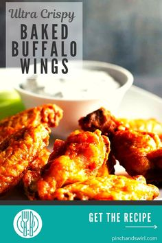 Truly Crispy Baked Buffalo Wings are possible with one simple every day ingredient! A healthy and eay way to enjoy the classic party snack straight from your own oven! #buffalowings #appetizerrecipes #appetizersforacrowd #chickenwings #GameDay #gamedayfood #bakedbuffalowings Easy Summer Meals, Healthy Summer Recipes, Easy Dinner Recipes, Appetizer Recipes, Great Recipes, Healthy Snacks, Vegetarian Recipes, Easy Meals, Baked Buffalo Wings