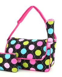 Rainbow Polka Dot Messenger Diaper Bag Cosmetic Purse & Changing Pad-NWT