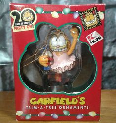 PAWS GARFIELD'S TRIM A TREE Christmas Ornament 1996 20 Years in Origina BOX