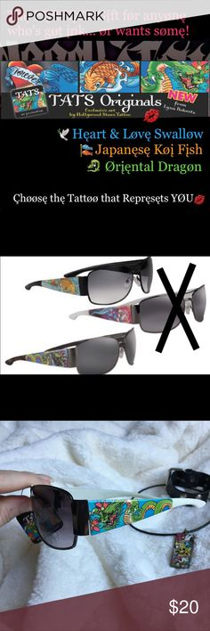TATS Originals Sunglasses Dragøn  HST12901D TATS Originals Sunglasses ~Exclusive Art by Hollywood Stars Tattoo. Featuring the Tattoo Designs of Artist, Lynn Roberts. Oriental Dragon Design. 🕶These make the PERFECT gift for anyone that's got Ink.. And for anybody that loves tattoos and would prefer to wear the designs of these awesome artists rather than get the permanent kind..🕶🎁🎄 •Nickel & Black Frame with Oriental Dragon Tattoo Design on White Arms.  •Smoke Gradient Lens. •Maximum…