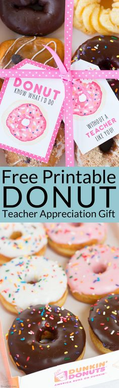 The end of school year is approaching! Tell your teacher thank you with this easy teacher appreciation gift and free printable gift tag featuring fun donut sayings. Great idea for teacher appreciation week or end of year teacher gifts. DIY Teacher Gifts, Simple Teacher Appreciation Gift, Teacher Appreciation Gift Ideas. Sponsored