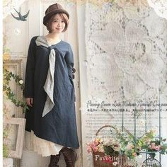 YesStyle - Nectarine Long-Sleeve Scarf-Accent Dress - AdoreWe.com