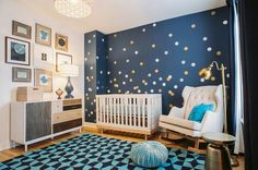 Instead of polka dots make them silver and gold stars against those dark walls