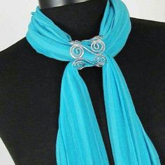 This Open Wire Slide Scarf Jewelry is an open… Scarf Knots, Scarf Rings, Scarf Necklace, Scarf Jewelry, Bijoux Wire Wrap, Wire Wrapped Jewelry, Wire Jewelry, Jewellery, Ways To Wear A Scarf