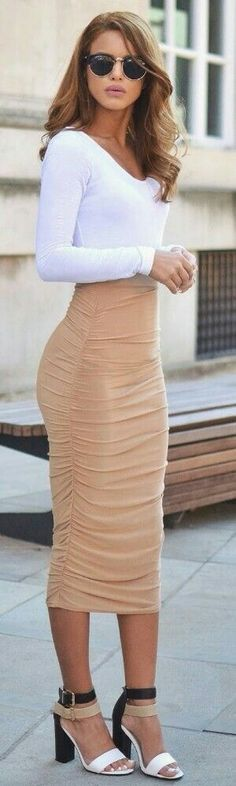 #popular #street #style #outfits #spring #2016 | White Bodysuit + Camel & Slinky Midi Skirt