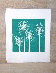 Modern Teal Trees Mid Century Art linocut print by RetroModernArt