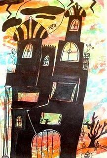 impossibly haunted houses, from Mr. Picasso's art room. could be MC Escher inspired