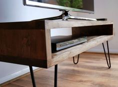 Handmade Solid Wood Box TV Stand with Steel Hairpin Legs – Dark Wood Finish. Our furniture grade solid wood cabinets are beautifully crafted to retain the natural features of the timber including original knots and grain. | eBay!
