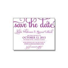 Whimsical purple Adele wedding Save the date, letterpress