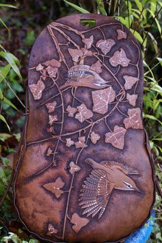 elaborately carved boho style bag with wrens and ivy leaves 3ae8d4922a38a