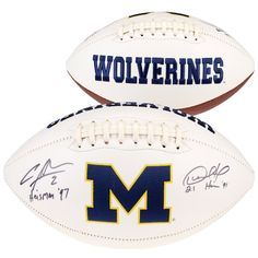 Desmond Howard   Charles Woodson Michigan Wolverines Fanatics Authentic  Dual Signed White Panel Football with