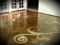 Concrete Floor Art Concrete Floors Floor Seasons Inc Las Vegas, NV. Pattern on concrete could be changed to fit any type of interior Acid Stained Concrete Floors, Acid Concrete, Stencil Concrete, Painting Concrete, Stamped Concrete, Concrete Staining, Concrete Pad, Concrete Finishes, Decorative Concrete