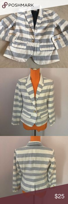 "Merona Light Blue White Thick Stripe Nautical Coat 24"" length 19.5"" armpit to armpit. Is a light powder blue and white thick striped blazer. Fully lined. Front pockets. Nautical style. Excellent condition. Bundle 2+ items for a discount. Merona Jackets & Coats Blazers"