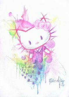 Hello Kitty, eigener Entwurf. Buntstift auf Papier