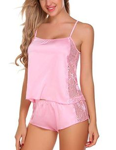 Women Sleepwear Satin Pajama Cami Set Lace Lingerie Sexy Nightwear