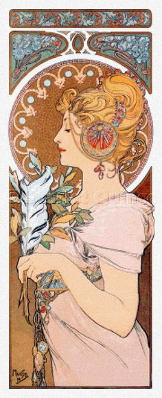 Scarlet Quince cross stitch chart: Feather - Alphonse Mucha