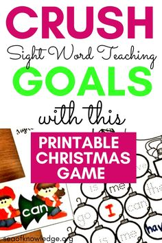 Free Printable Christmas Sight Word Games: Need a fun way to get kids reading their sight words? This fun Christmas themed printable will get ALL your students involved and learning! Even my ESL students LOVED this activity. Free Christmas Printables, Christmas Themes, Christmas Fun, Free Printables, Sight Word Worksheets, Sight Word Games, Sight Words, Kids Reading, Esl