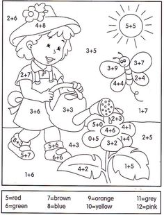 math coloring worksheet addition for easter Math Coloring Worksheets, Preschool Learning, Kindergarten Worksheets, Teaching Math, Preschool Activities, 1st Grade Math, Homeschool Math, Math For Kids, Kids Education