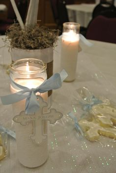 First holy communion Baptism Table Decorations, Boy Baptism Centerpieces, Communion Decorations, Baptism Candle, Baptism Favors, Baptism Ideas, Candle Centerpieces, Christening Party, Baptism Party