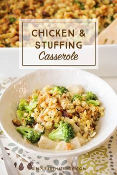 This easy Chicken and Stuffing Casserole is one of those meals that you can throw together in a pinch. It's a family favorite that is in our regular meal rotation. Casserole Recipes, Soup Recipes, Chicken Recipes, Cooking Recipes, Healthy Recipes, Chicken Soup, Chicken Stuffing Casserole, Stuffing Mix, Tomato Tortellini Soup
