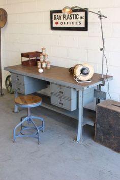 Vintage Industrial 6 Lyon Workbench Kitchen Island Desk
