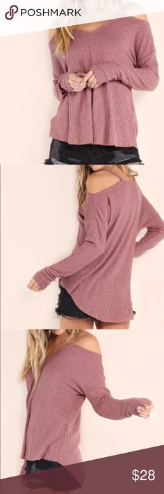 "Mauve Waffle Knit Top Mauve Cold Shoulder Top  Waffle Knit High / Low Top Polyester material. Very soft  Fabric is stretchy. Sleeves are cuffed at the end. Casual style  Length is measured by the longest point. New in package   ❗️Medium: Bust:42""                     Length:25"" ❗️ Large: Bust:44""                  Length:25: Bewitched Boutique Tops Tees - Long Sleeve"