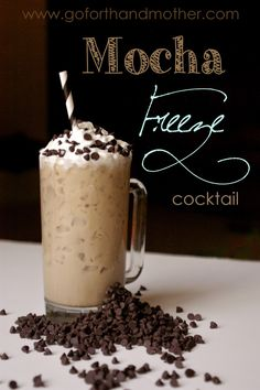 Mocha Freeze Cocktail - a yummy iced coffee drink with vodka and creme de cacao. A refreshing alcoholic alcoholic beverage for a summer afternoon.