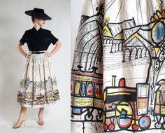 RESERVED Vintage 1950s Novelty Print Skirt Saul by AlexSandras