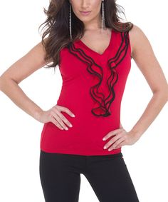 Look at this Belldini Red & Black Ruffle Tank on #zulily today!