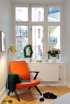 orange reading nook