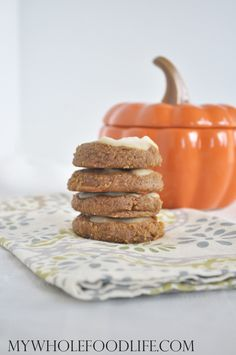Iced Pumpkin Cookies.  Soft, flourless pumpkin cookies with a  delicious glaze on top.  These healthy pumpkin cookies are vegan, gluten free and paleo.