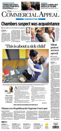 #20160225 #USA #Memphis #TENNESSEE #TheCommercialAppeal Thursday FEB 25 2016 http://www.newseum.org/todaysfrontpages/?tfp_show=80&tfp_page=7&tfp_id=TN_CA