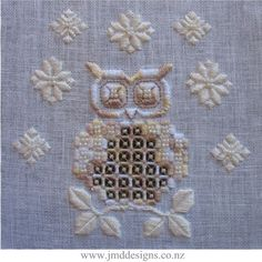 Snowy Owl Hardanger Needlework Embroidery by DesignsJMD on Etsy