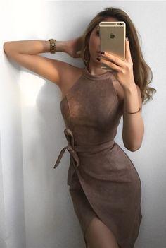 Suede Mini Sexy Dress