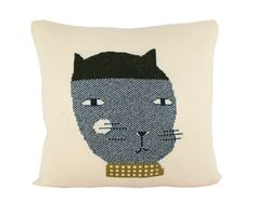 Decorative Pillow - Felipe the Cat - soft knitted pillow - includes insert Knit Pillow, Pillow Talk, Cat Cushion, Ginger Cats, Cat Crafts, Baby Room Decor, Kids Decor, Design Crafts, I Love Cats