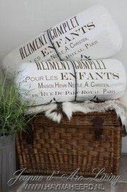 Jeanne d`Arc Living   Rolkussen Wit met Franse Tekst 25x60cm