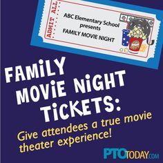 Fun addition to a movie night -- print out tickets to collect at the door. (Kids will love this! Pto Today, Family Presents, Family Movie Night, Pta, Movie Theater, Elementary Schools, Connection, Parenting, School Stuff