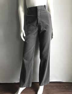 Vintage Women's 80's Gray Corduroy Pants, High Waisted, Straight Leg (L) by Freshandswanky on Etsy