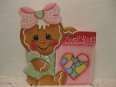 HP Gingerbread sweet hearts Valentines candy shelf sitter hand painted ebay countreecorner (616)